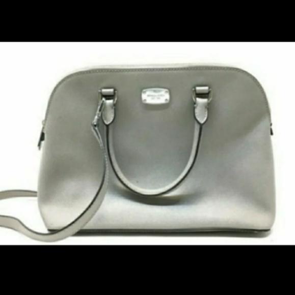 "Michael Kors Handbags - Michael Kors Grey ""Hattie"" Leather Bowler Bag"